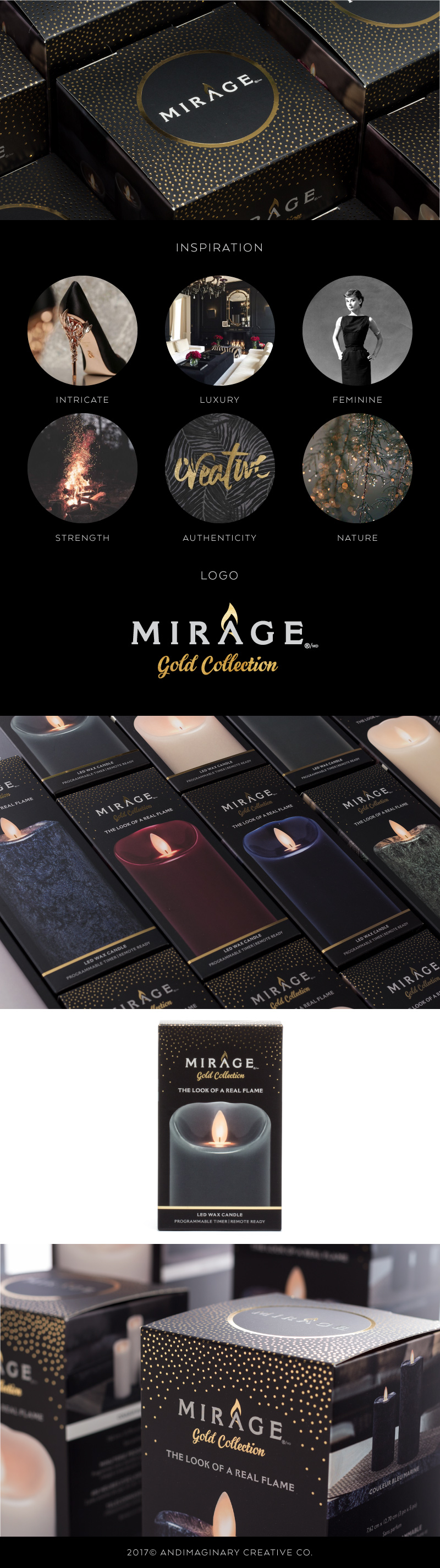 Package Design for Mirage Gold high-end LED wax candles - designed by Andimaginary Creative Co.