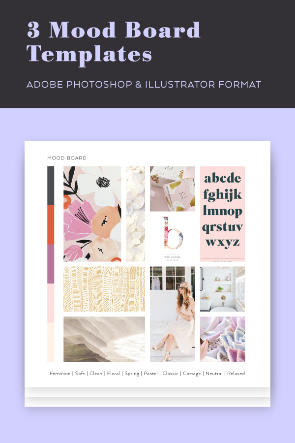 3 free mood board templates in Photoshop and Illustrator format