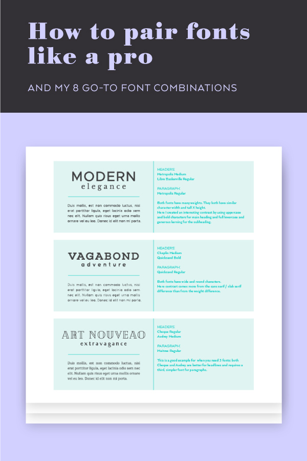 Free Workbook: How to pair fonts like a pro plus my 8 favorite font combinations