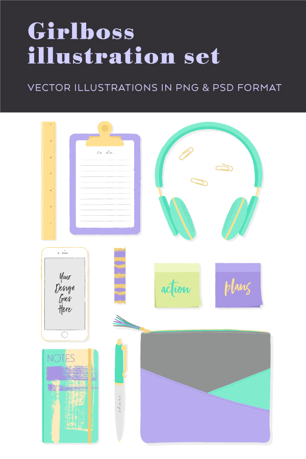 Cute vector illustrations in eps, png and psd format